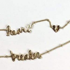🆕 Heart Breaker Two Chain Short Necklace Name Tag